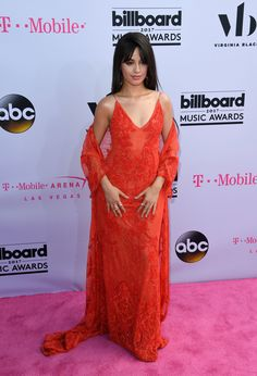 Va-va-voom! Camila Cabello embraced her inner Jessica Rabbit with this floor-length red number. Loving the '90s-esque spaghetti straps! via @AOL_Lifestyle Read more: https://www.aol.com/article/entertainment/2017/05/21/best-dressed-billboard-music-awards-2017-celine-dion/22102539/?a_dgi=aolshare_pinterest#fullscreen