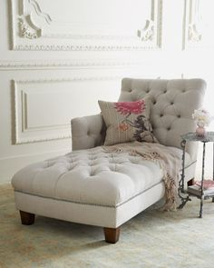 I have always wanted a chaise in my bedroom. This tufted one in light beige is my ideal.