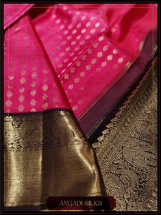 Relive the beauty of Colour palette with this pop Knajivaram in Fuchsia and Podi (Brown) Colour. With Aanai (Elephant) and Annam (Mythical Bird) Motif decking the border and pallu, style the saree with heirloom Jewels and Gajras . Kanjipuram Saree, Organza Saree, Saree Dress, Sari, Pattu Sarees Wedding, Wedding Silk Saree, Bridal Sarees, Indian Silk Sarees, Soft Silk Sarees
