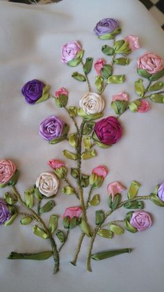 Wonderful Ribbon Embroidery Flowers by Hand Ideas. Enchanting Ribbon Embroidery Flowers by Hand Ideas. Ribbon Embroidery Tutorial, Embroidery Flowers Pattern, Learn Embroidery, Silk Ribbon Embroidery, Hand Embroidery Designs, Embroidery Kits, Flower Patterns, Embroidery Stitches, Embroidery Tattoo