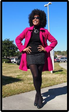 Pairing a textured, fuchsia coat (1) with a dark color such as black is an easy way to add sophistication to any ensemble.  The bouclé skirt (2) blends well with the fabric of the coat while the simple design of the shoes (3) keeps the focus on this stand out color.