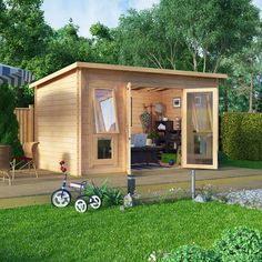 Positives: pent roof, double doors with front windows that open. Don't like the edges. Needs a left-side window £949