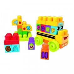 The First Builders ABC Spell School Bus is a 44-piece preschool building set that includes alphabet stickers.