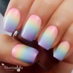 Pastel Rainbow Gradient Nails ❥•.¸ღ¸❤