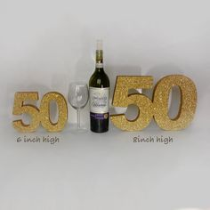 """50th birthday anniversary gold glitter number 6"""" or 8"""" high Party decoration Freestanding birthday number Luxury party decoration Gift"""