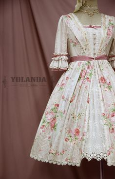Sweet vintage lolita op dress, middle sleeves, featuring details oriented flower prints and beautiful trim. The waist belt gives you enough space. more:http://goo.gl/Q20ufi