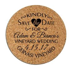 50 Save the Dates Personalized Round Cork Coasters Custom 2016 2017 Wedding Announcements Winery Brewery Rustic Wedding by Factory21 on Etsy https://www.etsy.com/listing/250290439/50-save-the-dates-personalized-round