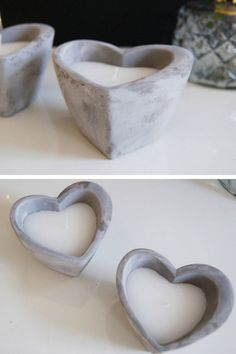 A stunning heart shaped candle that makes the perfect concrete candle. The heart shaped candle has a rustic, worn finish with a washed effect. The perfect gift idea for loved ones. #ad #concrete #candle #heart #giftidea #cement #homedecor #decoration #valentinesday