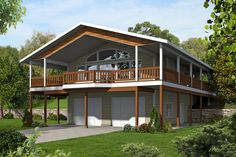 I love the wrap around porch and over Garage design. if built into hill as designed back door is ground level. Northwest House Plan with Splendid Wrap-Around Porch - 35512GH | Mountain, Northwest, Vacation, Metric, 1st Floor Master Suite, CAD Available, PDF, Wrap Around Porch, Sloping Lot | Architectural Designs