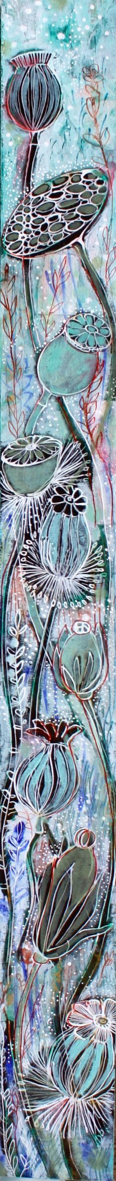 Winter Garden Slice- Original mixed media painting by Maria Pace-Wynters