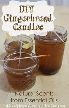 If you love that gingerbread smell you can get it without baking! These DIY gingerbread candles are scented naturally with an essential oil blend I created to smell like delicious gingerbread. These DIY candles are perfect for christmastime and even make Christmas Candle Decorations, Christmas Candles, Christmas Diy, Green Christmas, Christmas Trees, Christmas Scents, Handmade Christmas, Diy Candles Scented, Homemade Candles