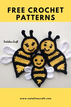 Look at these easy free patterns for these adorable crochet bee appliques. Find here a free crochet pattern for a beautiful family of bees. Easy and quick pattern to make some beautiful appliques to decorate your blankets! Crochet Applique Patterns Free, Knitting Machine Patterns, Crochet Blanket Patterns, Free Crochet, Crochet Craft Fair, Crochet Gifts, Crochet Projects, Doll Amigurumi Free Pattern, Crochet Elephant