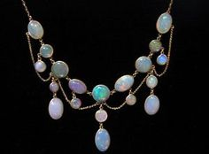 EDWARDIAN GOLD OPAL FESTOON NECKLACE!