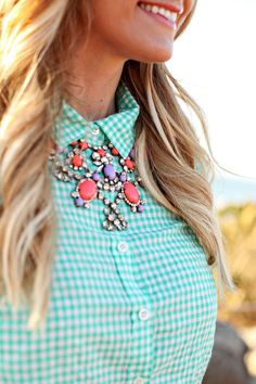 Mint gingham + statement necklace