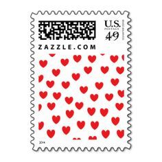 """Raining Hearts"" Postage Stamps"