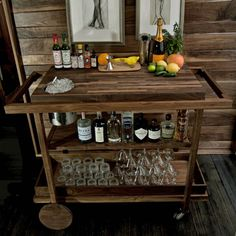 bar cart with integrated ice bucket!!! Perfect