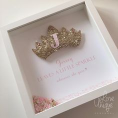 A stunning puffy glitter crown fit for a girl who loves to sparkle and shine Complete with pink printed text and border detail The initial of your 3d Box Frames, Box Frame Art, Shadow Frame, Diy Shadow Box, Baby Shower Deco, Family Tree Frame, Diy Gifts, Handmade Gifts, Handmade Frames