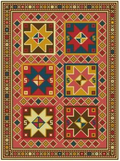 Bergama Happiness Stars by Banu Demirel Embroidery Sampler, Cross Stitch Embroidery, Cross Stitch Geometric, African Crafts, Bargello, Loom Beading, Rug Hooking, Le Point, Rugs On Carpet