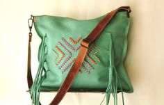 Aqua cross body bag Leather crossbody purse Turquoise by Percibal, $160.00