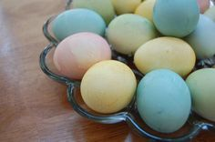 Eggs dyed naturally with homemade dyes! I love the pretty colors natural dyes produce. http://www.thenourishinggourmet.com/2011/04/naturally-dyed-easter-eggs-pink-green-yellow-and-blue.html