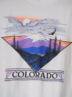 VTG 90s Colorado Scenic Tourist T-Shirt Neon 1992 Ski Rocky Mountains Large L #Oneita #GraphicTee #Casual
