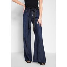 7 For All Mankind Wide Leg Lounge Pant In Deep Blue ($199) ❤ liked on Polyvore featuring pants, blue, wide leg, blue pants, wide leg denim trousers, denim trousers, dark blue pants and blue wide leg pants