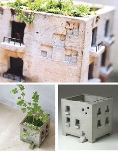 miniature building planter – Keep up with the times. Concrete Crafts, Concrete Art, Concrete Projects, Concrete Design, Diy Projects, Clay Houses, Ceramic Houses, Ceramic Clay, Clay Crafts
