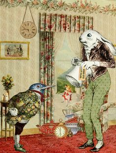 """The white rabbit and his friend discuss what they should do about Alice's """"condition"""""""
