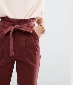 pants | paperbag | trousers | paper bag style | bow | pink | magenta | wine