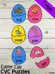 Easter Egg CVC Puzzles – Simply Kinder These Easter Egg CVC Puzzles are a fun and hands-on way for children to practice reading CVC words and matching the word to the picture. Phonics Activities, Easter Activities, Spring Activities, Learning Activities, Kindergarten Centers, Kindergarten Activities, Kindergarten Freebies, Literacy Stations, Easter Eggs