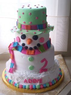 "Snowman cake for birthday party.. Could do a ""colddd"" summer theme... Fool'em!"