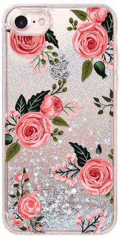 Casetify iPhone 7 Glitter Case - Pink Floral Flowers and Roses Chic Feminine Transparent Case 008 by Harvest Paper Co. #Casetify