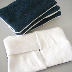 Etui à mouchoirs en papier en jeans brut et coton blanc recyclé - pochette kleenex - pliage origami - 100% recyclage
