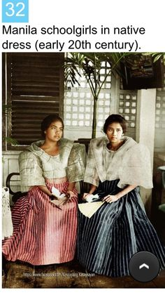 """""""Schoolgirls in native dress – upper garment is made of hemp gauge, Manila, Philippines, early century"""" Image source: H. White Company @ John Tewell Colorized by E. Philippines Fashion, Philippines Culture, Manila Philippines, Philippines People, Philippines Travel, Filipino Art, Filipino Culture, Chinese Culture, Filipino Fashion"""