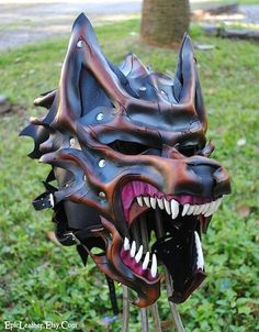 Commission: Dire Wolf Helm by Epic-Leather on DeviantArt Wolf Helmet, Helmet Armor, Wolf Mask, Leather Armor, Leather Mask, Tan Leather, Cosplay Armor, Dire Wolf, Knight Armor
