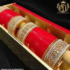 61 ideas for bridal lehenga red jewelry Punjabi Chura, Punjabi Bride, Indian Bridal Fashion, Indian Bridal Wear, Wedding Chura, Wedding Wear, Bridal Bangles, Bridal Jewelry, Chuda Bangles