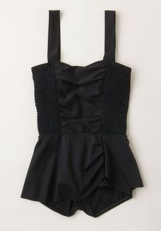 Dramatic Dip One-Piece Swimsuit. Ho-hum in the sun? #black #modcloth