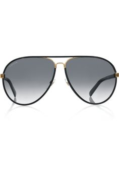 5937f9182b Gucci - Aviator-style leather-covered sunglasses