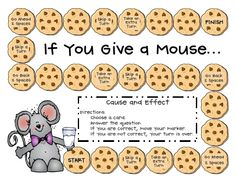 a new game for when we return to school next week to review cause and effect. Maybe you can use it too.  It has a CUTE mouse and cookie theme! Just add some game pieces, a die, and friends1