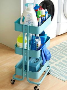 Organize your cleaning supplies on an IKEA cart.