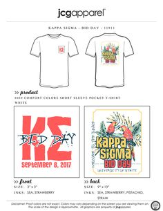 JCG Apparel : Custom Printed Apparel : Kappa Sigma Bid Day T-Shirt #kappasigma #kappasig #ks #bidday #parrot #tropical #luau