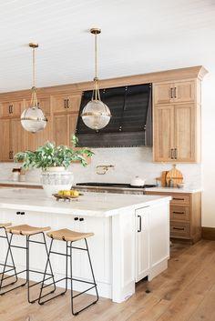 Natural Wood Kitchen Design - Studio McGee - - Our latest kitchen design inspired by natural elements. Diy Kitchen Cabinets, Kitchen Tops, New Kitchen, Green Cabinets, Awesome Kitchen, Two Toned Kitchen, Natural Wood Kitchen Cabinets, Earthy Kitchen, Neutral Kitchen
