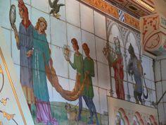 Castelo de Cardiff, País de Gales. Detalhes decorativos com azulejos.