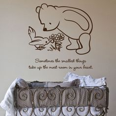 Classic Pooh Sometimes the smallest things take up quote wall decal. $25.00, via Etsy.