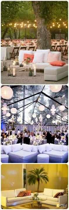 Sofás e puffs brancos: o curinga das mobílias, combinam com ambientes fechados e ao ar livre, super fácil na hora de compor a decor por serem muito versáteis e atemporais.