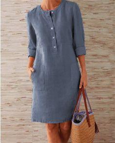 Buttoned Down Pockets Plus Size Dresses Shop Causal Dresses - Shift Casual Causal Dresses online. Knee Length Dresses, Dresses With Sleeves, Mode Abaya, Mini Vestidos, Long Sleeve Midi Dress, Sleeved Dress, Plus Size Dresses, Mini Dresses, Shift Dresses