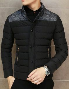 Slimming Trendy Stand Collar Cotton Liner Color Splicing Zipper Design Long Sleeve Polyester Coat For Men
