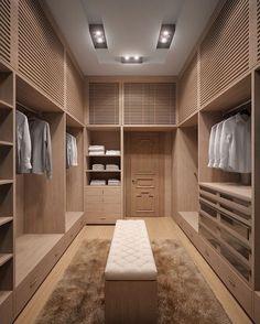 """""""Closet clean em madeira clara para dividir com o marido mais sóbrio. Um luxo!! Para inspirar quem está construindo seu cantinho. Foto não autoral!…"""""""