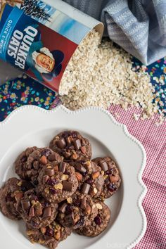 These cookies are loaded! So much goodness: cranberries, almonds, toffee, rolled oats, and CHOCOLATE! So thick and chewy. Cookie Desserts, Fun Desserts, Cookie Recipes, Delicious Desserts, Yummy Cookies, Yummy Treats, Sweet Treats, Oat Cookies, Brownies