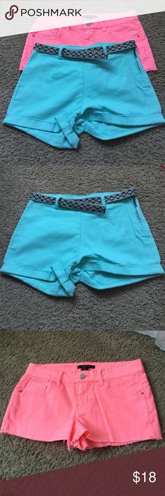 NEW forever 21 shorts! Never worn 2 pairs of forever 21 shorts never worn. Mint blue and neon pink Forever 21 Shorts